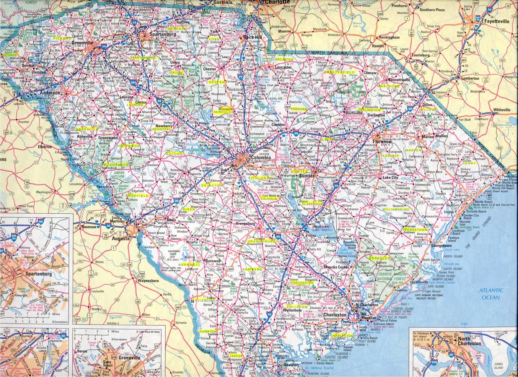 large modern map . south carolina main page