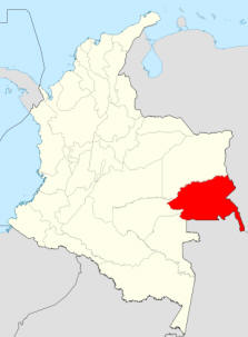 Map showing the Guainia Department.  Click for more information on Colombia.